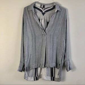 Free People Blue and White Striped Tunic